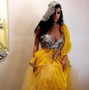 SHELBY Yellow & Silver Wedding Saree Ballgown Set